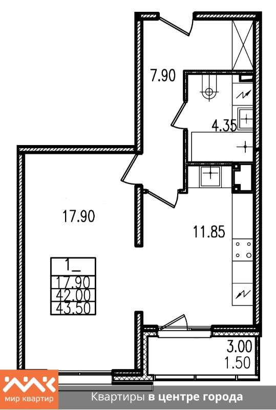 Планировка Однокомнатная квартира площадью 43.5 кв.м в ЖК «Европа Сити»