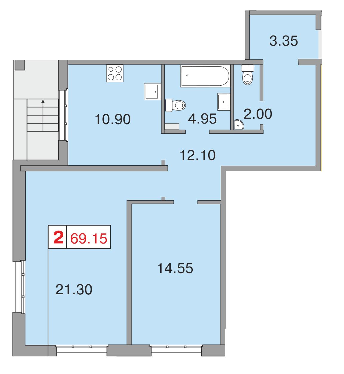 Планировка Двухкомнатная квартира площадью 68.1 кв.м в ЖК «Европа Сити»