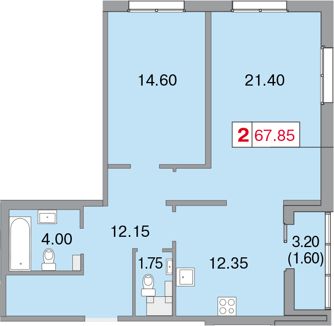 Планировка Двухкомнатная квартира площадью 69.45 кв.м в ЖК «Европа Сити»