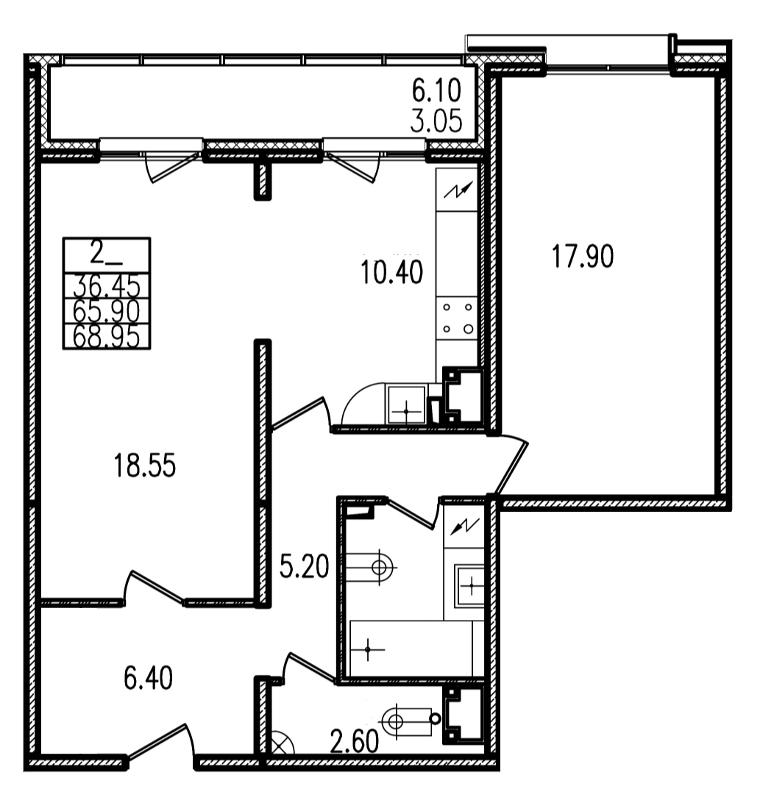 Планировка Двухкомнатная квартира площадью 68 кв.м в ЖК «Европа Сити»