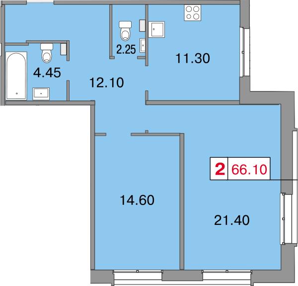 Планировка Двухкомнатная квартира площадью 66.1 кв.м в ЖК «Европа Сити»