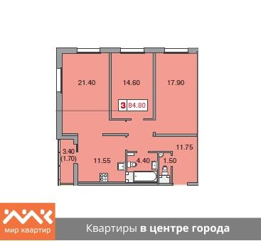 Планировка Трёхкомнатная квартира площадью 84.8 кв.м в ЖК «Европа Сити»