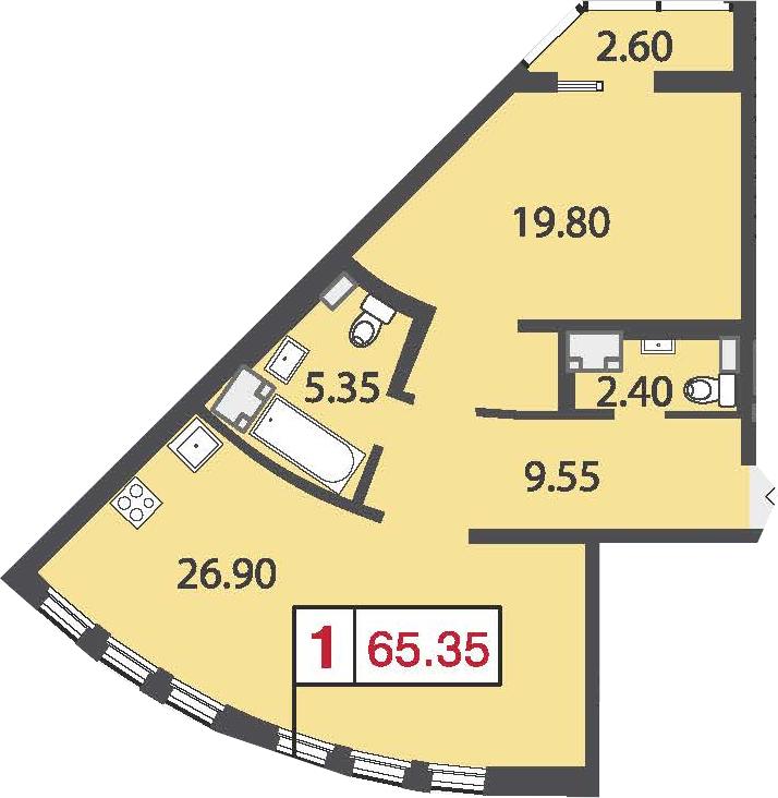 Планировка Однокомнатная квартира площадью 67.25 кв.м в ЖК «Европа Сити»