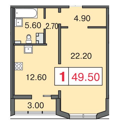 Планировка Однокомнатная квартира площадью 49.7 кв.м в ЖК «Европа Сити»