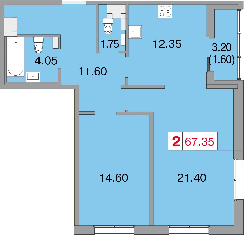 Планировка Двухкомнатная квартира площадью 68.95 кв.м в ЖК «Европа Сити»