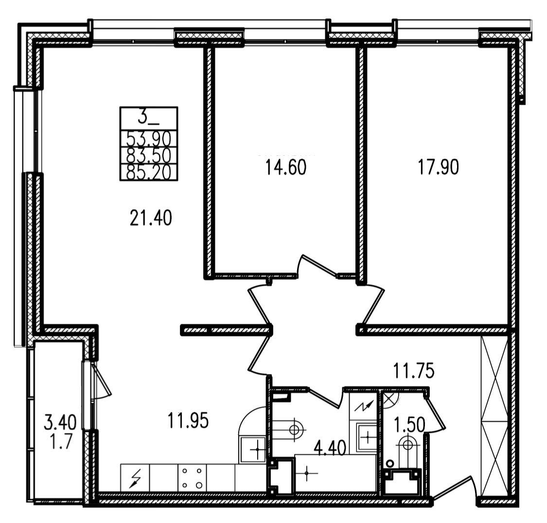 Планировка Трёхкомнатная квартира площадью 85.2 кв.м в ЖК «Европа Сити»