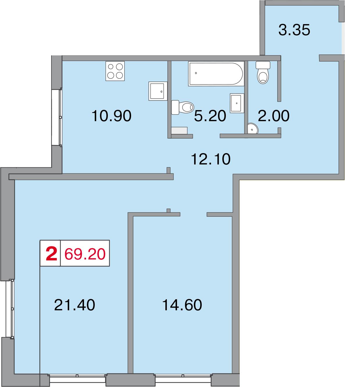 Планировка Двухкомнатная квартира площадью 69.2 кв.м в ЖК «Европа Сити»