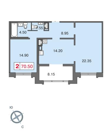 Планировка Двухкомнатная квартира площадью 69.3 кв.м в ЖК «Европа Сити»