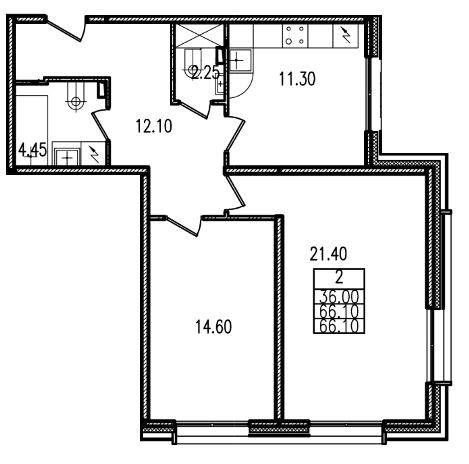 Планировка Двухкомнатная квартира площадью 65.6 кв.м в ЖК «Европа Сити»