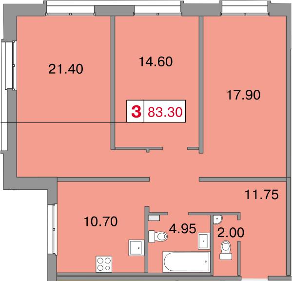 Планировка Трёхкомнатная квартира площадью 83.3 кв.м в ЖК «Европа Сити»