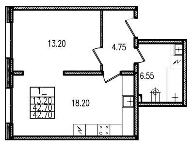 Планировка Однокомнатная квартира площадью 42.7 кв.м в ЖК «Европа Сити»