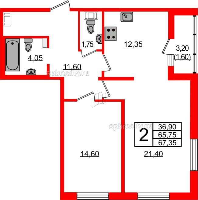 Планировка Двухкомнатная квартира площадью 67 кв.м в ЖК «Европа Сити»