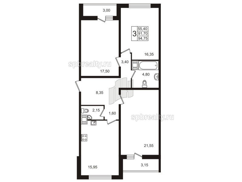 Планировка Трёхкомнатная квартира площадью 95.1 кв.м в ЖК «Европа Сити»
